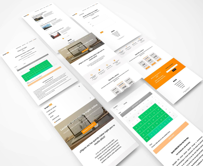 Foto montaje del diseño de la web spanglishline.com